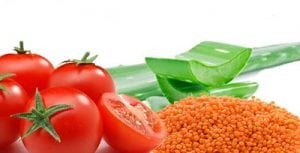 Aloe vera, red lentil (masoor daal) and tomato face pack