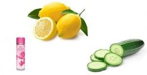 Cucumber, lemon juice and rose water face pack