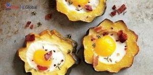 Acorn squashes with baked egg