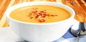 Bacon with sweet potato soup