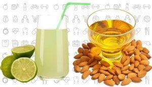 Lemon juice and almond oil