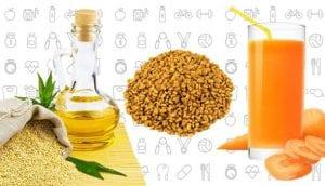 Sesame oil, fenugreek seeds, and carrot juice