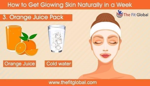 Orange Juice Pack - how to get glowing skin naturally