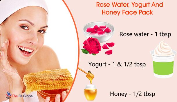 Rose Water, Yogurt And Honey Face Pack