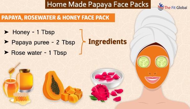 Papaya, Rosewater Honey Face Pack